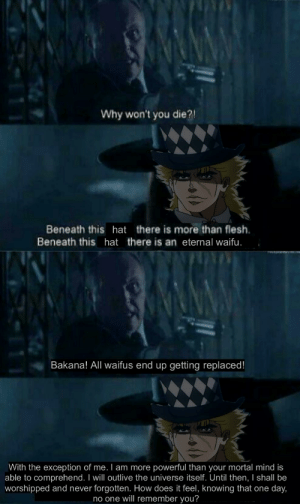 S for Speedwagon: Why won't you die?  Beneath this hat there is more than flesh  Beneath this hat there is an eternal waifu.  Bakana! All waifus end up getting replaced!  With the exception of me. I am more powerful than your mortal mind is  able to comprehend. I will outlive the universe itself. Until then, I shall be  worshipped and never forgotten. How does it feel, knowing that one day,  no one will remember you? S for Speedwagon