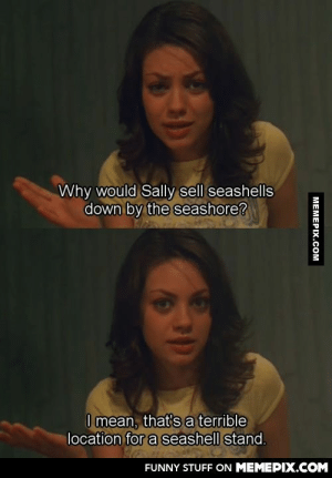 She does have a point.omg-humor.tumblr.com: Why would Sally sell seashells  down by the seashore?  I mean, that'sa terrible  location for a seashell stand.  FUNNY STUFF ON MEMEPIX.COM  MEMEPIX.COM She does have a point.omg-humor.tumblr.com