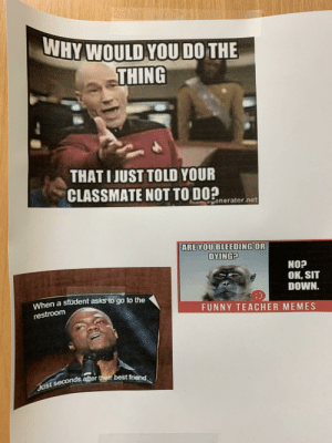 My school just keeps on finding ways to disappoint me...: WHY WOULD YOU DO THE  THING  THATI JUST TOLD YOUR  CLASSMATE NOT TO DO?  Conerator.net  ARE YOU BLEEDING OR  DYING?  NOP  OK, SIT  DOWN.  When a student asks to go to the  FUNNY TEACHER MEMES  restroom  Just seconds after their best friend My school just keeps on finding ways to disappoint me...