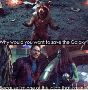 Most logical response ever: Why would you want to save the Galaxy?  arvet  Because I'm one of the idiots that live in it Most logical response ever