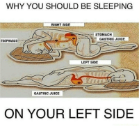 Memes, 🤖, and Node: WHY YOU SHOULD BE SLEEPING  RIGHT SIDE  STOMACH  GASTRIC JUICE  ESOPHAGUS  LEFT SIDE  GASTRIC JUICE  ON YOUR LEFT SIDE Sleeping on your back might make you difficult to breath, and sleeping on your right may be dangerous for your digestive system. Sleeping on your left will help you solve the issues with your digestive system, and improves your digestion process Sleeping on left side helps to remove lymph fluid, toxins, and waste from thoracic duct and lymph nodes. Whereas sleeping on right side may increase the risk of many deadly diseases Make it your habit to sleep on your left. You can place a full length body pillow on your right side, while you lay on your left side. This will keep you to turn on your right when you are sleeping.