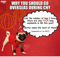 Memes, Good, and Link: WHY YOU SHOULD GO  OVERSEAS DURING CNY  0  Like the number of legs I have  there are only FOUR long  weekends in SG this year!  Better make the most of them!  fr  (compared to 7 in 2017) Because it's the Year of the Dog, let our furry friend from @hotelsdotcom give you 8 huat reasons on why it's good to travel during CNY!!! Time to find a holiday here <link in bio> and stop working like a dog!