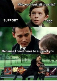 Memes, 🤖, and The Killing: Why you took all the kills?  SUPPORT  ADC  Because I need items to support you Supports 2k17