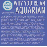 "Love, Teacher, and Aquarius: WHY YOURE AN  Cassi CAquarius  AQUARIAN  @Classic Aquarius  #ClassicAquarius  As an Aquarian you are instilled with the negative' & 'positive  traits of your star sign (in order to make you into the person you  need to be). Your Soul deliberately choose to be born under the  star sign of Aquarius for a greater reason. Your purpose in this  lifetime is primarily to be a teacher messenger of truth, love  and understanding, to help the greater good. You are here to  welcome in a new awakening evolution, However it's vital that  you learn to transmute those ""negative Aquarian qualities so you  can fully serve your calling. The negative traits you must begin  to transform include your stubborn nature, your need to please.  your aloof shy /detached nature, your overly sensitive  defensive nature at times, your isolation tendencies, your  unpredictability and constant overthinking over-analysing. Once  ou are aware of those typical negative' Aquarian qualities you'll  e able to move beyond them, allowing those positive traits to  become the main focal point of your character. As an Aquarian  the positive traits that will help serve your calling include your  honesty, compassion, enthusiasm, kindness, open mindedness,  intuition, passionate & determined attitude, attentive listening  skills, adventurous nature, friendly comforting nature, your  strength & intelligence wisdom, curiosity & creativity"