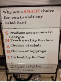 """Target, Tits, and Tumblr: Whyis it a SMART choice  for you to visit our  Salad Bar?  S Produce are grownin  M rresi quality Produce  Georgia  A Choices of salads  Rchoices of toppings  T It's healthy for You  Visitou salnd bax  and reta chance to vin  movie ticlket.  SI <p><a class=""""tumblr_blog"""" href=""""http://usbdongle.tumblr.com/post/104277149959/sproduce-mfresh-achoices-rchoices-tits"""" target=""""_blank"""">usbdongle</a>:</p> <blockquote> <p>S'produce</p> <p>M'fresh</p> <p>A'choices</p> <p>R'choices</p> <p>T'its</p> </blockquote>"""