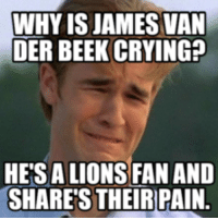 Why Is James Cryin: WHYIS JAMES VAN  DER BEEK CRYING?  HETSALIONS FAN AND  SHARES THEIR PAIN