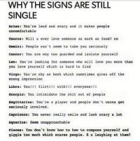 Compose Yourself: WHYTHE SIGNS ARE STILL  SINGLE  aries: You're loud and scary and it makes people  uncomfortable  Taurus: Will ever love someone as much as food? no  Gemini: People can't seem to take you seriously  cancor: You are ay too guarded and isolate yourself  Loo: You're looking for someone who will love you more than  you love yourself which is hard to find  virgo: You're shy as heck which sonetimes gives off the  wrong impression  Libra: Yo! flirt!! with!!! everyone!!!  scorpio: You intimidate the shit out of people  Sagittarius: You're a player and people dot vanna get  seriously involved.  capricorn: You never really snile and look scary a lot  Aquarius: Seem unapproachable  Pisces: You don't know how to how to compose yourself and  giggle too much which scares people. Ru laughing at themi?