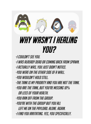 "Being Alone, Spawn, and Yes: WHYWASN'TI HEALING  YOU?  -/COULDNT SEE YOU  /WAS ALREADY DEAD OR COMING BACKFROM SPAWN  ACTUALLY WAS, YOU JUST DIDN'T NOTICE  -YOU WERE ON THE OTHER SIDE OF A WALL.  -YOU WOULDN'T HOLD STILL.  THE TANK IS MY PRIORITY AND YOU ARE NOT THE TANK  -YOU ARE THE TANK, BUT YOU'RE MISSING 10%  OR LESS OF YOUR HEALTH.  YOU RAN OFF FROM THE GROUP  -YOU'RE WITH THE GROUP BUT YOU ALL  LEFT ME ON THE PAYLOAD. ALONE. AGAIM  -I FIND YOU IRITATING. YES, YOU SPECIFICALLV MMO ""why wasn't I healing you?"""