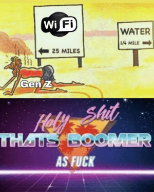 I don't know if this was made before: Wi Fi  WATER  1/4 MILE  25 MILES  Gen Z  Hely Shit  THATS BOOMER  AS FUCK I don't know if this was made before