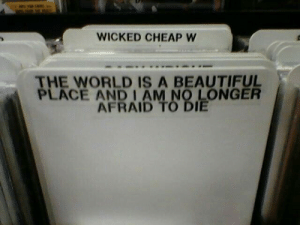Am No: WICKED CHEAP W  THE WORLD IS A BEAUTIFUL  PLACE AND I AM NO LONGER  AFRAID TO DIE