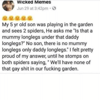 """Fucking, Memes, and Savage: Wicked Memes  Jun 29 at 3:42pm. E  My 5 yr old son was playing in the garden  and sees 2 spiders, He asks me """"ls that a  mummy longlegs under that daddy  longlegs?"""" No son, there is no mummy  longlegs only daddy longlegs."""" I felt pretty  proud of my answer, until he stomps on  both spiders saying,"""" We'll have none of  that gay shit in our fucking garden. mf savage"""