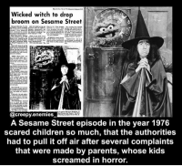 Pussies. - - - sesamestreet horror creepy scary fact didyouknow creepyfact creepyenemies: Wicked witch to drop  broom on Sesame Street  @creepy enemies  A Sesame Street episode in the year 1976  scared children so much, that the authorities  had to pull it off air after several complaints  that were made by parents, whose kids  screamed in horror. Pussies. - - - sesamestreet horror creepy scary fact didyouknow creepyfact creepyenemies