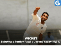 IND v ENG, 3rd Test, Day-3: ENG 283 & 71/3 (32)   Joe Root - 33 (86)   England trail by 63 runs: WICKET  Bairstow c Parthlv Patel b Jayant Yadav 15034) IND v ENG, 3rd Test, Day-3: ENG 283 & 71/3 (32)   Joe Root - 33 (86)   England trail by 63 runs