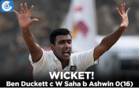 IND vs ENG, 2nd Test, Day 5: ENG 255, 92/3 (64.5) | Early strike for India. Duckett goes for a duck!: WICKET!  Ben Duckett c W Saha bAshwin O(16) IND vs ENG, 2nd Test, Day 5: ENG 255, 92/3 (64.5) | Early strike for India. Duckett goes for a duck!