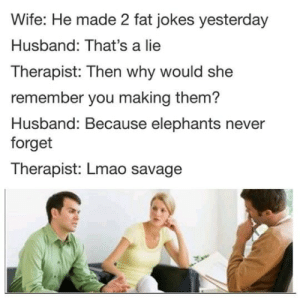 Lmao, Savage, and Jokes: Wife: He made 2 fat jokes yesterday  Husband: That's a lie  Therapist: Then why would she  remember you making them?  Husband: Because elephants never  forget  Therapist: Lmao savage Knock em thots over.