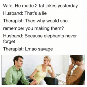 Internet, Lmao, and Savage: Wife: He made 2 fat jokes yesterday  Husband: That's a lie  Therapist: Then why would she  remember you making them?  Husband: Because elephants never  forget  Therapist: Lmao savage  the front page of the internet