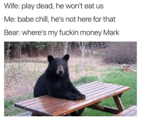 Babes, Bear, and Bears: Wife: play dead, he won't eat us  Me: babe chill, he's not here for that  Bear: where's my fuckin money Mark How much does a polar bear weigh? Enough to break your face Mark get me my fuckin money (@die)