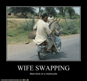 WIFE SWAPPING - Cheezburger - Funny Memes | Funny Pictures: WIFE SWAPPING  Best done on a motorcycle  О  LOHNHAS CHEE2BURGER.COM WIFE SWAPPING - Cheezburger - Funny Memes | Funny Pictures