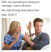 😂😂😂😂 (RP: @thefunnyintrovert): Wife: your gossiping is ruining our  marriage, I want a divorce  Me: wait till Greg hears about this  Wife: STOP T 😂😂😂😂 (RP: @thefunnyintrovert)