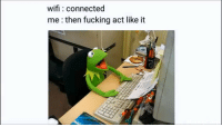 Fucking, Connected, and Wifi: wifi connected  me:then fucking act like it Weve all done it at least once.