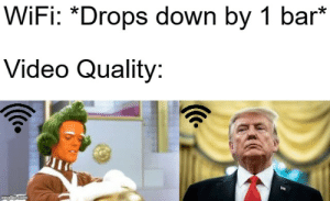 Video, Wifi, and Com: WiFi: *Drops down by 1 bar*  Video Quality:  imgflip.com Oompa Loompa