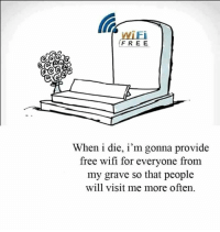 Memes, Free, and Wifi: WiFi  FREE  When i die, i'm gonna provide  free wifi for everyone from  my grave so that people  will visit me more often