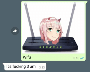 """The anime girl is from """"Darling in the Franxx"""".: Wifu  3.10  It's fucking 3 am  3.13 The anime girl is from """"Darling in the Franxx""""."""