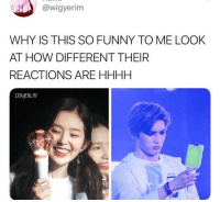 Funny, How, and Why: @wigyerim  WHY IS THIS SO FUNNY TO ME LOOK  AT HOW DIFFERENT THEIR  REACTIONS ARE HHHH  자꾸생각나
