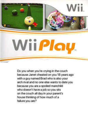 Crying, Parents, and Reddit: Wii.  TM  B  P1  WiiPlay.  TM  Do you when you're crying in the couch  because Janet cheated on you 18 years ago  with a guy named Brad who is also your  arch rival and no one else wants to date you  because you are a spoiled manchild  who doesn't have a job so you sits  on the couch all day in your parent's  house thinking of how much of a  failure you are? i didn't know where to post my wii play, so i put it here.