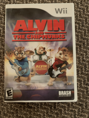 Just found this in my collection of wii games and remembered that wii games were weird.: Wii  VALVIN/  AND  THECHIPMUNKS  ALVIN  THE CHIPMUNKS  EVERYONE  BRASH  ENTERTAINMENT  CONTENT RATED BY  ESRB Just found this in my collection of wii games and remembered that wii games were weird.