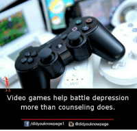Counseling: wii  Video games help battle depression  more than counseling does  /didyouknowpagel @didyouknowpage