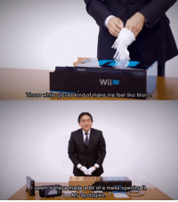 Mario, White, and Wii U: WiiU  These white gloves  kind of make me feel like Mario  seem tohave made a bit of a mess opening it  宁  My apologies <p>Iwata unboxing the Wii U</p>