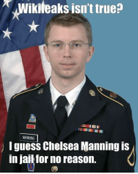 manning: Wikileaks isn't true  MANNING  I guess Chelsea Manning is  in jail for no reason.