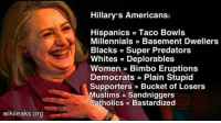 Memes, Muslim, and Millennials: wikileaks org  Hillary's Americans:  Hispanics Taco Bowls  Millennials Basement Dwellers  Blacks Super Predators  Whites Deplorables  Women Bimbo Eruptions  Democrats Plain Stupid  Supporters Bucket of Losers  Muslims Sandniggers  Catholics Bastardized Meanwhile...