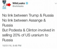 Bill Clinton, Memes, and Link: WikiLeaks  @wikileaks  No link between Trump & Russia  No link between Assange &  Russia  But Podesta & Clinton involved in  selling 20% of US uranium to  Russia  10/31/16, 9:48 PM Crooked's State Department approved this and Bill Clinton was paid very well for a speech in Moscow.