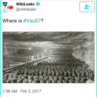 """Memes, Juicy, and Alphabet: WikiLeaks  @Wikileaks  Where is  Vault  1:58 AM Feb 5, 2017 @Regrann from @followthewhiterabbitz - disclosure truth Repost @scars_and_stripez ・・・ What is Vault 7? Wikileaks Releases Series of Cryptic Tweets What is Vault 7? Where is Vault 7? When is Vault 7?"""" These are the questions that Wikileaks has tweeted, along with two pictures of what seems like an underground facility, and the two remaining questions, why and who, is Vault 7 seem to have the internet going in a frenzy for what Vault 7 could possibly mean. Wikileaks began tweeting out a series of cryptic tweets with the hashtag Vault7 on Feb. 4, suggesting that the international whistleblowing organization has something juicy in store for the public very soon. UPDATE: 1:00 P.M. EST – 2-7-17 – Wikileaks tweeted out """"Who is Vault7?,"""" with a picture of Snowden, Manning and Assange. UPDATE: 1:00 P.M. EST – 2.8-17 – Wikileaks tweeted out """"Why is Vault7?,"""" with a strange image of what looks like a steel worker welding. An anonymous account named """"AnonScan"""" gave their input, tweeting out even more cryptic material and a riddle with several videos, including a video that shows Julian Assange calling the U.S. government, and warning the U.S. State Dept. of a massive un-redacted cable leak that isn't from them. The video ends with """"it's time,"""" an echoed term that has previously been tweeted by Snowden as well. The group's riddle, """"the answer is there right in front of you, if you know the alphabet Google is your friend.. or maybe not,"""" appears to suggest that Google may have blocked viewing these bases, as they have done for other U.S. military bases and facilities. Aquick google of """"Vault7"""" shows a seed bank for doomsday (insert scenario here) as is depicted by the video below the exact facility that Wikileaks tweeted out a picture of it's the Svalbard Global Seed Vault in Norway. Which according to CBS and Science Daily the vault serves as the """"Noah's Ark for plant life and is built to wit"""