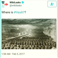 """Memes, Juicy, and Alphabet: WikiLeaks  @wikileaks  Where is  Vault7?  1:58 AM Feb 5, 2017 Has anyone seen deep space episode 2 on gaia? WW2, Hitler & Antarctica in depth..if this could have any correlation could you imagine what could be exposed. So What is Vault 7? Where is Vault 7? When is Vault 7?"""" These are the questions that Wikileaks continues to tweet, along with two pictures of what seem to be an underground facility, and the two remaining questions, why? and who is Vault 7 seem to have the internet going in a frenzy for what Vault 7 could possibly mean. Wikileaks began tweeting out a series of cryptic tweets with the hashtag Vault7 on Feb. 4, suggesting that the international whistleblowing organization has something juicy in store for the public very soon. UPDATE: 1:00 P.M. EST – 2-7-17 – Wikileaks tweeted out """"Who is Vault7?,"""" with a picture of Snowden, Manning and Assange. UPDATE: 1:00 P.M. EST – 2.8-17 – Wikileaks tweeted out """"Why is Vault7?,"""" with a strange image of what looks like a steel worker welding. An anonymous account named """"AnonScan"""" gave their input, tweeting out even more cryptic material and a riddle with several videos, including a video that shows Julian Assange calling the U.S. government, and warning the U.S. State Dept. of a massive un-redacted cable leak that isn't from them. The video ends with """"it's time,"""" an echoed term that has previously been tweeted by Snowden as well. The group's riddle, """"the answer is there right in front of you, if you know the alphabet Google is your friend.. or maybe not,"""" appears to suggest that Google may have blocked viewing these bases, as they have done for other U.S. military bases and facilities. Aquick google of """"Vault7"""" shows a seed bank for doomsday (insert scenario here) as is depicted by the video below the exact facility that Wikileaks tweeted out a picture of it's the Svalbard Global Seed Vault in Norway. Which according to CBS and Science Daily the vault serves as the """"Noah's Ark for plant li"""