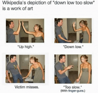 "Guns, Work, and Art: Wikipedia's depiction of ""down low too slow""  is a work of art  Up high.""  ""Down low.""  Victim misses.  ""Too slow.""  (With finger-guns.)"