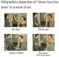 "Down Low: Wikipedia's depiction of ""down low too  slow"" is a work of art  ""Up high.""  Down low.""  Too slow.""  (With finger-guns.)  Victim misses."