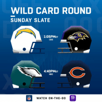 Memes, Cbs, and Wild: WILD CARD ROUND  SUNDAY SLATE  1:05PMET  CBS  4:40PMET  NBC  NFLWATCH ON -THE-GO  YAHOO! Wild Card Sunday is here! #LACvsBAL #PHIvsCHI https://t.co/GarttlJmXO