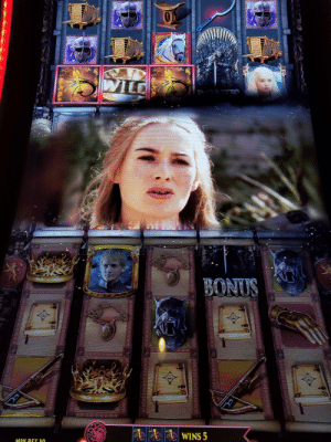 "This slot machine took all my money then Cersei appeared and told me, ""When you play the game of thrones, you win or you die."" I'm dead now.: WILD  DONTIO  BONUS  WINS 5  MIN BET 50  BBWEWWMlelea  elel  wwww.axprpdja  ******e8E  383