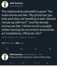 "Android, Twitter, and Lost: Wild Geerters  @classiclib3ral  The relationship subreddit is good. The  male entries are like ""My gf lost her par-  ents and shes not handling it well. Should  l break up with her?"" and the female  entries are like ""l think my bf is a public  shitter leaving his excrementaround like  art installations. What do I do?""  19:33 23 Dec 18 Twitter for Android  117 Retweets 942 Likes  Wild Geerters @classiclib3ral 57m  These are both real posts I read on there today  6"