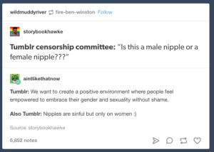 "Tumblr, Women, and Censorship: wildmuddyriverfire-ben-winston Follow  storybookhawke  Tumblr censorship committee: ""Is this a male nipple or a  female nipple???""  aintlikethatnow  Tumblr: We want to create a positive environment where people feel  empowered to embrace their gender and sexuality without shame.  Also Tumblr: Nipples are sinful but only on women:)  Source: storybookhawke  6,852 notes Tumblr censorship committee:"