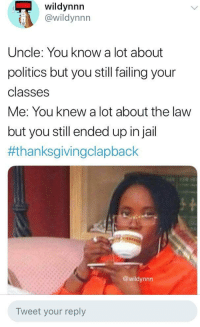 Politics, Thanksgiving Clap Back, and Time: wildynnn  @wildynnn  Uncle: You know a lot about  politics but you still failing your  classes  Me: You knew a lot about the law  but you still ended up injail  #thanksgivingclapback  @wildynnn  Tweet your reply Can't do the time,