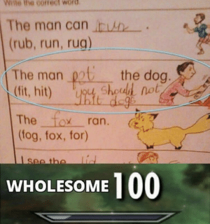 This is so cute: Wile the correct word  The man can In  (rub, run, rug)  The man pot the dog  (fit, hit) y shoul not  The fox ran.  tog, fox, for)  dog  WHOLESOME 100 This is so cute