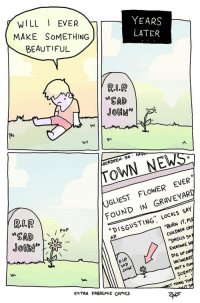 "Beautiful, Children, and News: WILL EVER  MAKE SoMETHING  BEAUTIFUL  YEARS  SAD  BERDEEN. 5 M  TOWN NEWS  UGLIEST FLOWER EVER  FOUND IN GRAVEYARD  Pop  DISGUSTING"" LOCALs SAY  AP  BURN IT, PLE  CHILDREN CRY  SMELLS So  EVERYONE ST  DIG UP CofR  INCİNERAT  NOT A Fo  SCIENTI  R.IP  SAD  JoHN  EXTRA FABULouS Comics  RST THING THA Me_irl"
