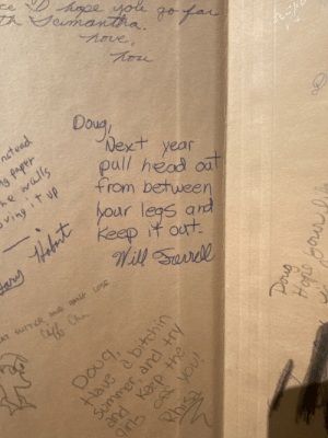 Will Ferrell's advice to my father in his junior high yearbook. They went to school together.: Will Ferrell's advice to my father in his junior high yearbook. They went to school together.