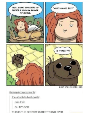 """Yes, yes it is: WILL GRANT YOU ENTRY TO  THEBES IF YOU CAN ANSWER  MY RIDDLE:  """"WHo's A GooD BoY?""""  A,  IS IT ME?????  pain train comic.com  itsdeepforhappypeople:  the-absolute-best-posts:  pain train  OH MY GOD  THIS IS THE BESTEST CUTEST THING EVER Yes, yes it is"""