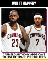 Do y'all think it will happen? 👀🤔 CarmeloAnthony @espn WSHH: WILL IT HAPPEN?  CAVALIECAVALIER  CARMELO ANTHONY ADDS CAVS  TO LIST OF TRADE POSSIBILITIES Do y'all think it will happen? 👀🤔 CarmeloAnthony @espn WSHH