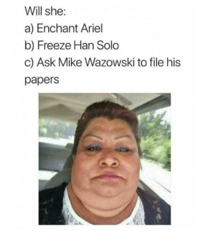 Ariel, Dank, and Han Solo: Will she:  a) Enchant Ariel  b) Freeze Han Solo  c) Ask Mike Wazowski to file his  papers Can it be all of the above? by 9w_lf9 MORE MEMES